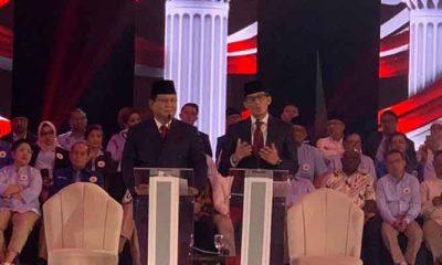 Prabowo-Sandi menjawab pertanyaan pada debat perdana capres-cawapres 2019. (FOTO: NUSANTARANEWS.Co)