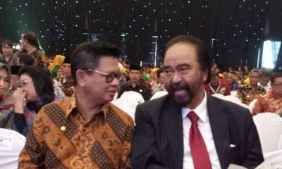 Gubernur Kaltara Dr H Irianto Lambrie bersama Panglima pendiri Media Group, Surya Paloh di sela Upacara Puncak Peringatan HPN 2019 di Grand City Convex, Surabaya, Sabtu (9/2). (FOTO: NUSANTARANEWS.CO/Humas Pemprov Kaltara)