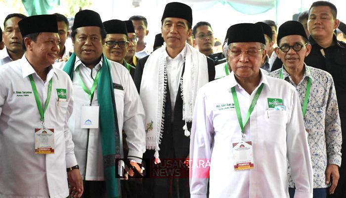 Presiden Jokowi dan sejumlah pengurus PBNU di acara Munas Alim Ulama dan Kombes NU tahun 2019, nusantaranewsco