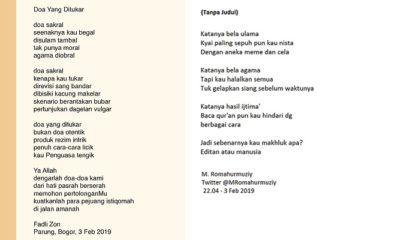 Puisi Fadli Zon - Doa yang Tertukar dan Cuitan Puitis M. Romahurmuzziy. (Ilustrasi: NUSANTARANEWS.CO)