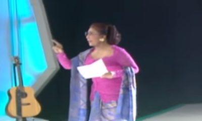 Menteri Susi Pudjiastuti baca puisi di acara HUT tvOne. (FOTO: Istimewa)