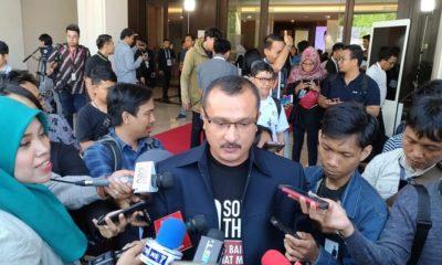 Kadiv Advokasi dan Bantuan Hukum DPP Partai Demokrat, Ferdinand Hutahaean di Hotel Sultan, Jakarta Pusat, Minggu (17/2/2019). (Foto: Romandhon/NUSANTARANEWS.CO)