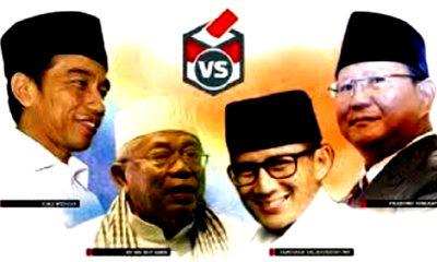 Pasangan capres-cawapres 2019, Jokowi-Ma'ruf Amin dan Prabowo-Sandi. (Foto: Istimewa)