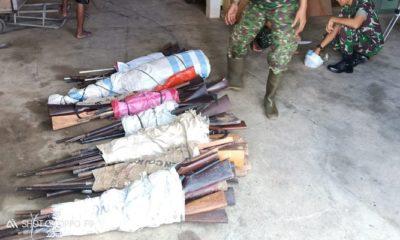 perbatasan indonesia-malaysia, yonif 511 dy, satgas pamtas, senjata api rakitan, amunisi, bubuk mesiu, perbatasan, nusantaranews