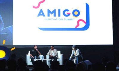 Direktur Utama PT Angkasa Pura II Muhammad Awaluddin (paling kiri), Direktur Teknologi Informasi dan Digital PT Pegadaian Teguh Wahyono (tengah), dan SM Amoeba Management Telkom Fauzan Feisal saat sesi talkshow Telkom Innovator Alumni di acara AMIGO Innovation Summit 2019 di Jakarta, Selasa 19/3. (FOTO: Humas Telkom)