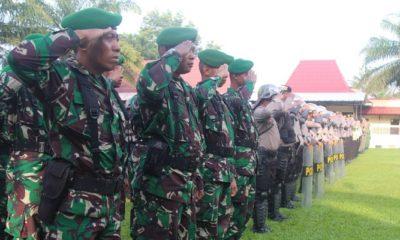 Apel Pasukan Pengamanan Pemilu 2019 Kodim Madium dan Polres Madiun. (FOTO: NUSANTARANEWS.CO/Timbul)