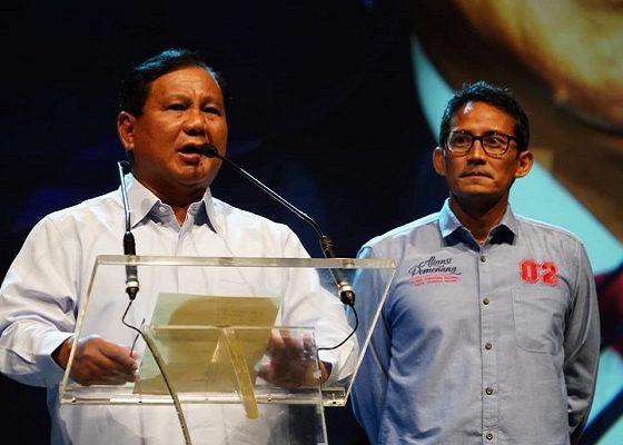 Calon presiden (capres) nomor urut 02 Prabowo Subianto di hadapan pengusaha yang menyatakan deklarasi dukungan di Djkarta Theater, Jakarta Pusat, Kamis (21/3/2019) malam. (FOTO: Istimewa)