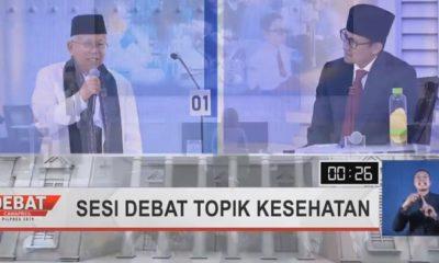 Kiai Ma'ruf Amin dan Sandiaga Uno dalam Debat Ketia Pilpres. (FOTO: NUSANTARANEWS.CO)