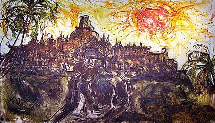 "Lukisan Borubudur yang dipamerkan dalam pameran seni rupa bertajuk ""Borobudur Today"", di Limanjawi Art House kawasan Borobudur. (FOTO: Dok. bisniswisata)"