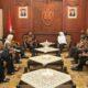 Gubernur Jatim Khofifah Indar Parawansa SambutKedatangan Kunjungan Kerja BPOM di Gedung Negara Grahadi Surabaya, Jumat (1/3/2019). (Foto: Setya N/NUSANTARANEWS.CO)