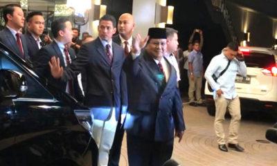 Prabowo Subianto usai debat calon presiden 2019 edisi keempat di Hotel Shangri-La, Jakarta, Sabtu (30/3). (Foto: Romadhon/NUSANTARANEWS.CO)