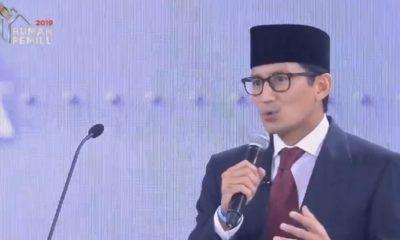 Cawapres Sandiaga Uno dalam debat ketiga Pilpres. (FOTO: Istimewa)