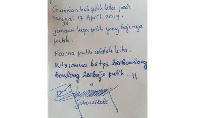 Tulisan Tangan Jokowi ajak pendukungnya ke TPS pakai baju putih pada 17 April 2019. (FOTO: NUSANTARANEWS.CO/Istimewa)