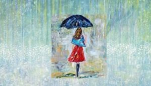 "Gadis di tengah Hujan di muka lukisan Watter Dance,"" tanah yang sedang dilanda hujan - Karya anak autis usia 6 tahun, Iris Grace. (Foto: Ilustrasi SelArt/Nusantaranews)"