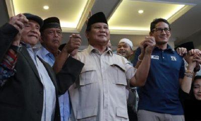 Prabowo Subianto-Sandiaga Uno deklarasi Presiden-Wakil Presiden 2019-2024. (FOTO: CNN Indonesia)