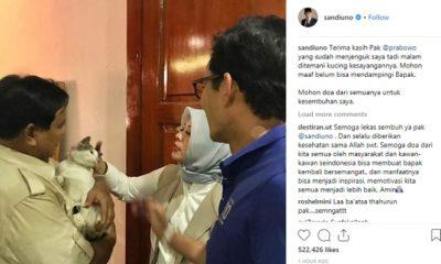 Prabowo Subianto saat menjenguk Sandi yang sedang sakit cegukan. (FOTO: Instagram Sandi)