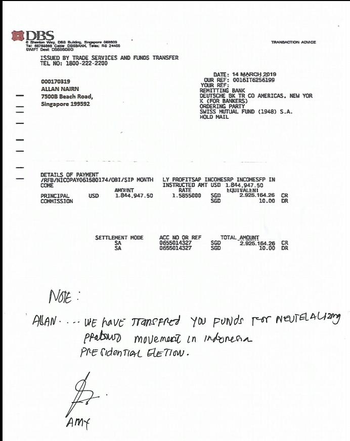 bukti transfer ke Rekening Allan Nairn di DBS bank Singapore. . (FOTO: NUSANTARANEWS.CO)