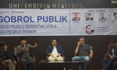 Ngobrol Publik : Refleksi Pemilu Serentak 2019 & Narasi 'People Power' FH UNAS. (FOTO: NUSANTARANEWS.CO)