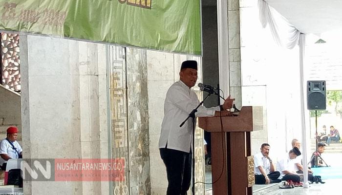Jenderal (Purn) Gatot Nurmantyo Saat Pidato Pada Acara Halal Bihalal Purnawirawan TNI Polri di Masjid At Tin Jakarta. (Foto Dok. NUSANTARANEWS.CO)