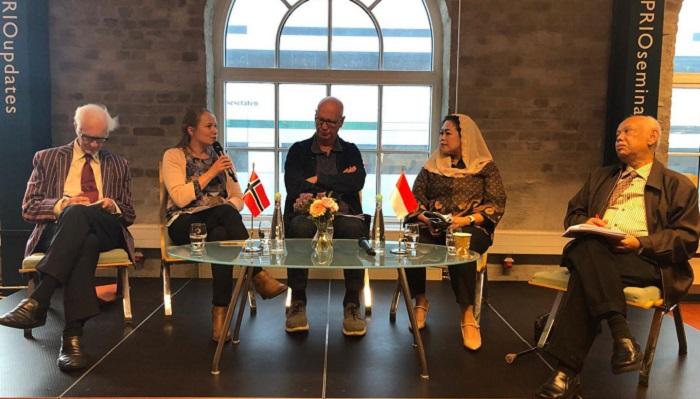 Perwakilan NU dan Muhammadiyah hadir memenuhi undangan seminar yang digelar oleh KBRI Oslo Norwegia bekerjasama dengan Universitas Metropolitan Oslo di Oslo, Norwegia. (FOTO: Dok. JP/Nezar Patria)