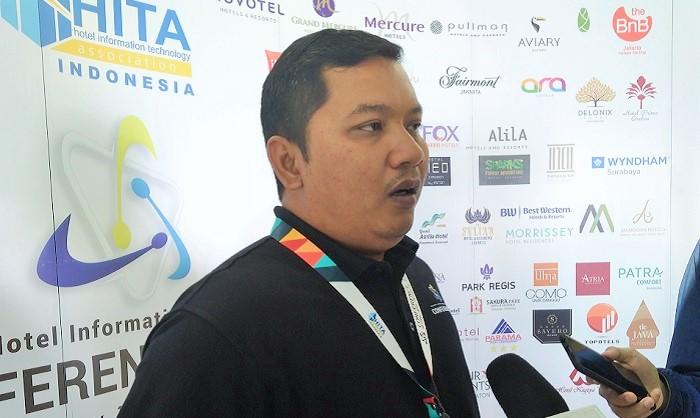 "Chairman Hotel Information Technology Association Indonesia (HITA–ID), Faisal Amir pada acara ""National Hotel Information Technology Conferences 2019"" di Double Tree by HILTON Jl. Pegangsaan Timur No.17, Jakarta, Sabtu (13/7/2019). (FOTO: NUSANTARANEWS.CO/Achmad S.)"