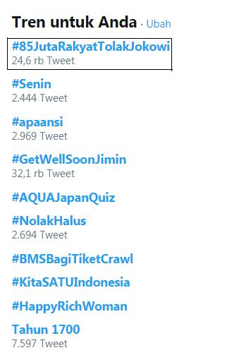 Hashtag 85 Juta Rakyat Tolak Jokowi Tranding 1 Twitter