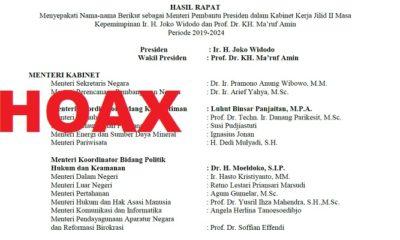 Hoaks Susunan Menteri KIK Jilid II. (Ilustrasi/NUSANTARANEWS.CO)