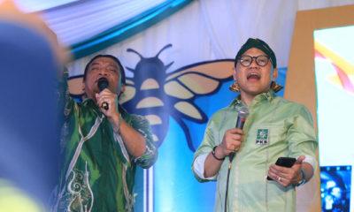 Ketum PKB Muhaimin Iskandar atau Cak Imin Berduet Dengan Penyanyi Campur Sari Didi Kempot di HUT PKB ke-21. (Foto Dok. @cakimiNOW)