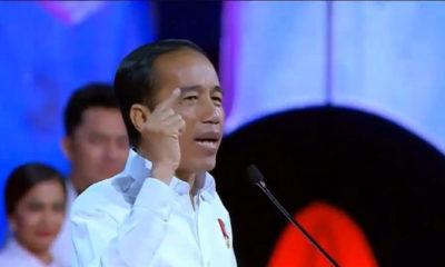 Presiden Jokowi saat Pidato Kemenangan Bertajuk Visi Indonesia di Sentul. (Foto Istimewa)