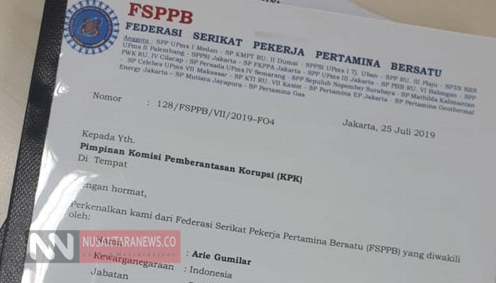 Surat Pengaduan FSPPB ke KPK (Foto Dok. Nusantaranews.co).