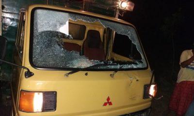 Tampak dari depan truck yang dirusak keluarga korban lantaran tidak terima atas peristiwa itu. (FOTO: NUSANTARANEWS.CO/Mahdi)