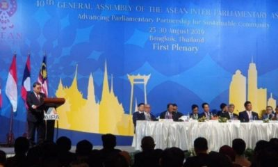 Wakil Ketua DPR Fadli Zon saat menyampaikan pidatonya sebagai Ketua Delegasi Parlemen Indonesia dalam agenda '40th General Assembly of ASEAN Inter Parliamentary Assembly (AIPA)' yang digelar di Bangkok, Thailand, pada Senin (26/8/2019). (FOTO: Tribunnews)