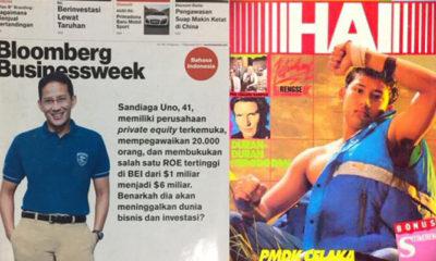 Foto Jadul Sandi di Majalah HAI dan Bloomberg (Foto Twitter @Sandiuno).