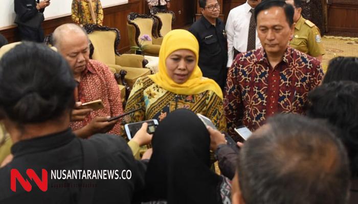 Gubernur Jawa Timur Khofifah Indar Parawansa memastikan ground breaking pembangunan bandara Kediri akan dimulai Januari 2020. (Foto: NUSANTARANEWS.CO/Setya)