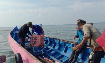 Plt Kadis Perhubungan Kabupaten Nunukan Robby Nahak Serang saat memimpin giat pemasangan pelampung di perairan Nunukan.