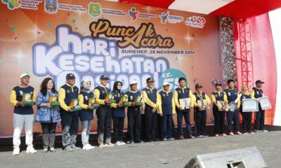 Puncak peringatan hari kesehatan nasional (HKN) ke 55 Provinsi Jawa Timur dilaksanakan di Pantai Lombang Kecamatan Batang batang Kabupaten Sumenep Madura Jawa Timur