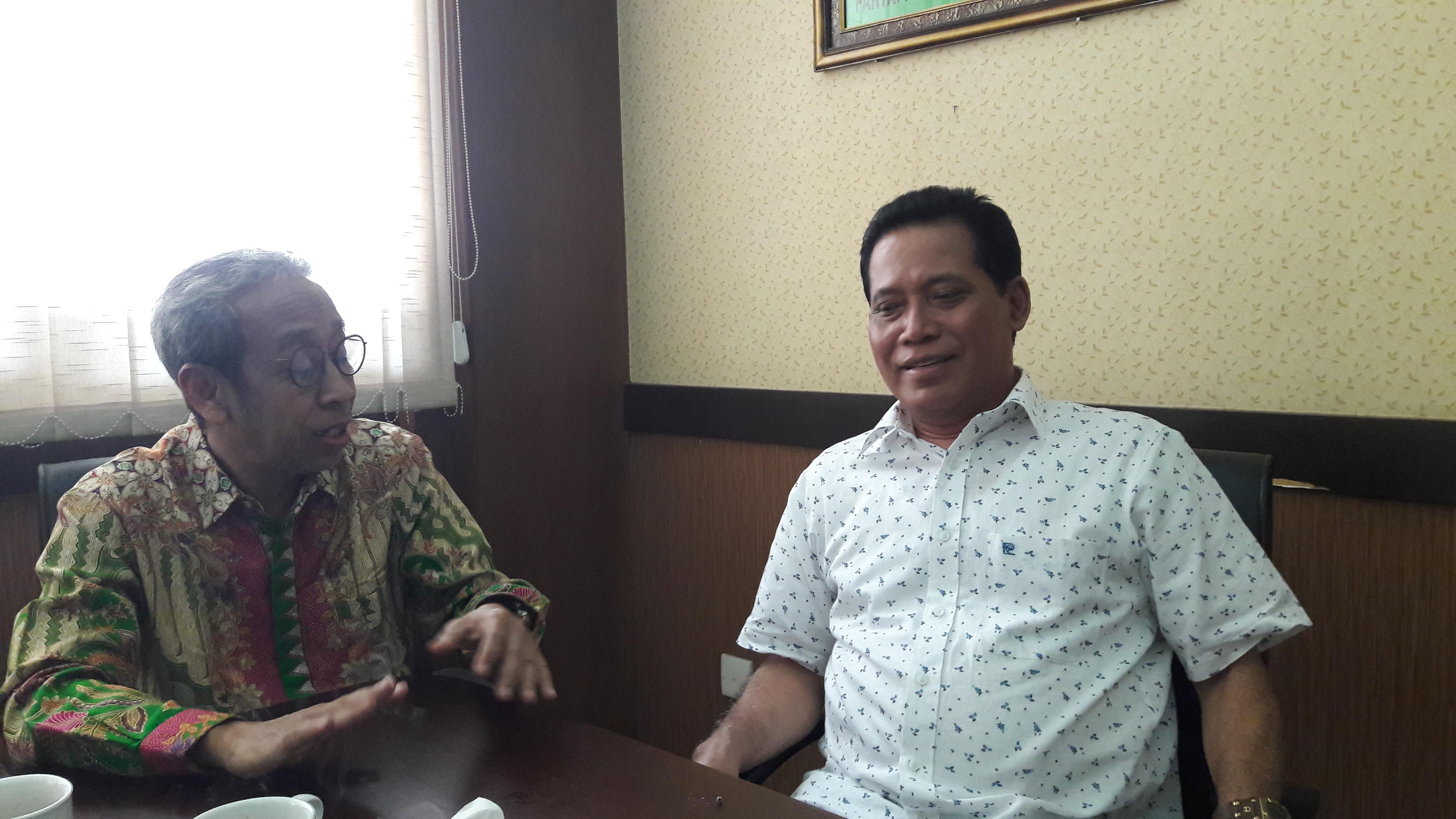 Ketua DPW PPP Jatim Musyafaj Noer dan PPP Jateng Masruhan menggelar pertemuan