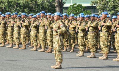 Satgas Batalyon Gerak Cepat TNI Konga XXXIX-AMonusco Yonif 527BY Tiba di Makodam VBrawijaya. (Foto: Istimewa)