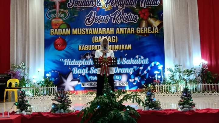 Bupati Nunukan, Asmin Laura Hafid saat mengadiri Perayaan Natal di Nunukan, Jumat (10/1/2020).