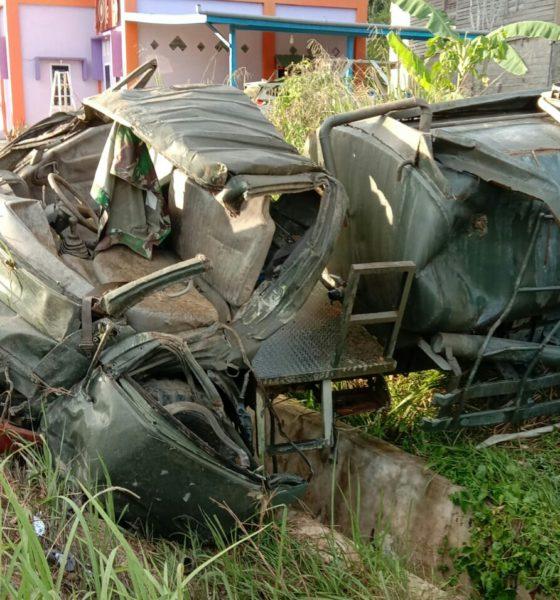 Mobil Tangki yang mengalami kecelakaan dan menyebabkan gugurnya 2 anggota Sat-Gas Pamtas RI - Malaysia di Sebatik, Nunukan, Kalimantan Utara