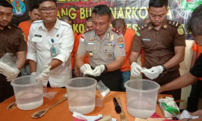 Pemusnahan barang bukti Sabu dengan total 1,67 Kg hasil penangkapan Polres Nunukan, Selasa (10/3/2020)