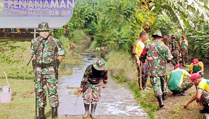 Prajurit TNI Kodim 0803 Madiun Ikut Gotong Royong Membersihkan Kali1