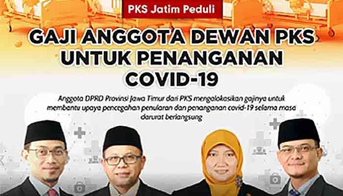 Darurat Wabah Korona, Dewan PKS Jatim Potong Gaji Untuk Penanganan Corona