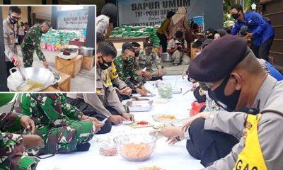 Kodim dan Polres Lamongan layani kebutuhan makan warga di 3 desa dan 1 kelurahan