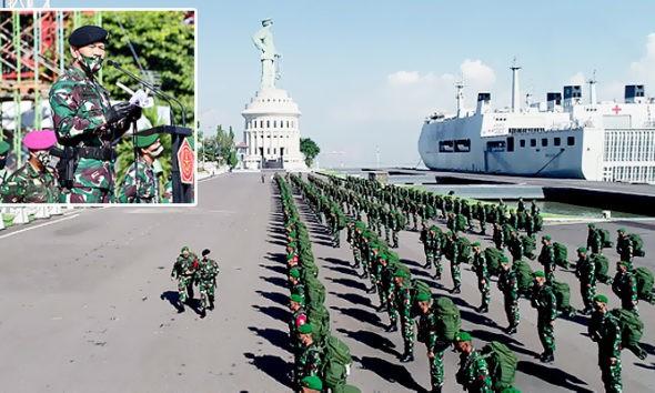 Satgas Yonif Mekanis 516/CY Disiagakan di Perbatasan Indonesia-Papua Nugini.