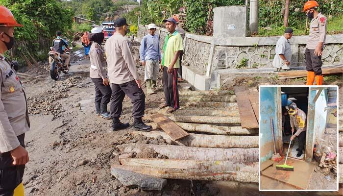 Pasca banjir bandang di Paya Tumpi, Dirlantas Polda Aceh bantu bersihkan rumah warga