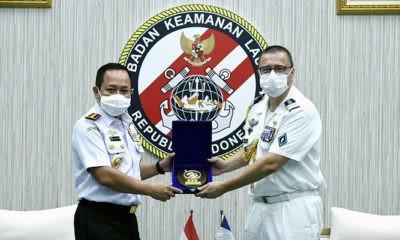 Atase Pertahanan Prancis kunjungi Bakamla RI di Markas Besar Bakamla RI, Jl. Proklamasi No. 56, Menteng, Jakarta Pusat, Senin (13/7).