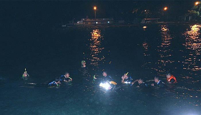 Personel Special Response Team lakukan renang malam.