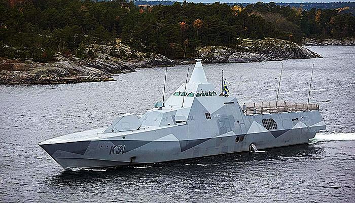 Korvet stealt kelas Visby Swedia yang spektakuler.