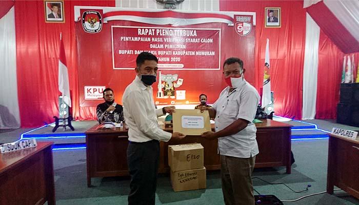 Hasil verifikasi syarat calon kepala daerah KPUD Nunukan.
